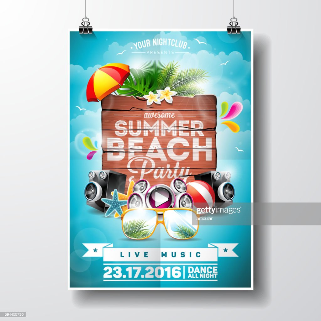 Summer Beach Party Flyer Design with nature floral elements