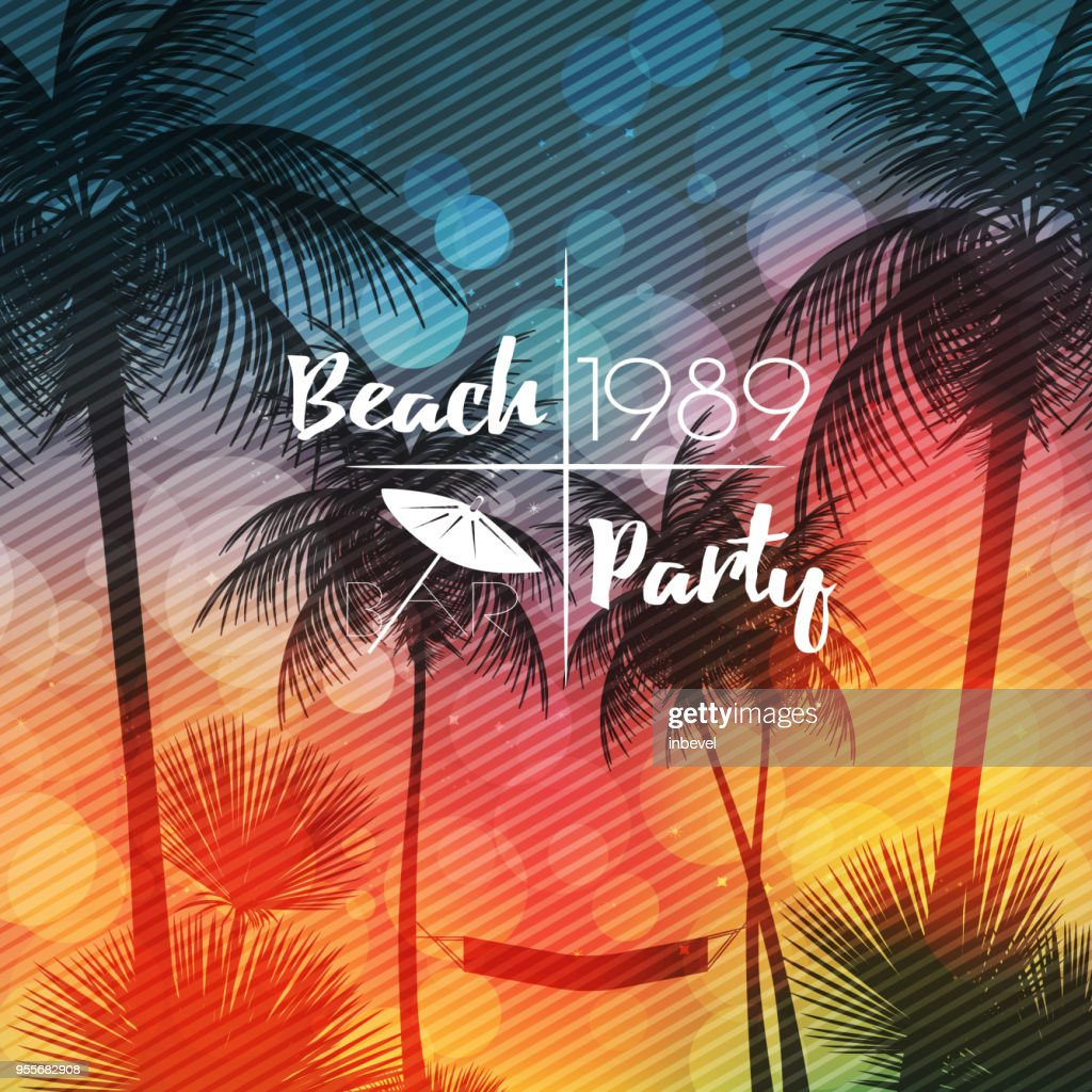 Summer Beach Party Flyer Design with Palmtrees - Vector Illustra