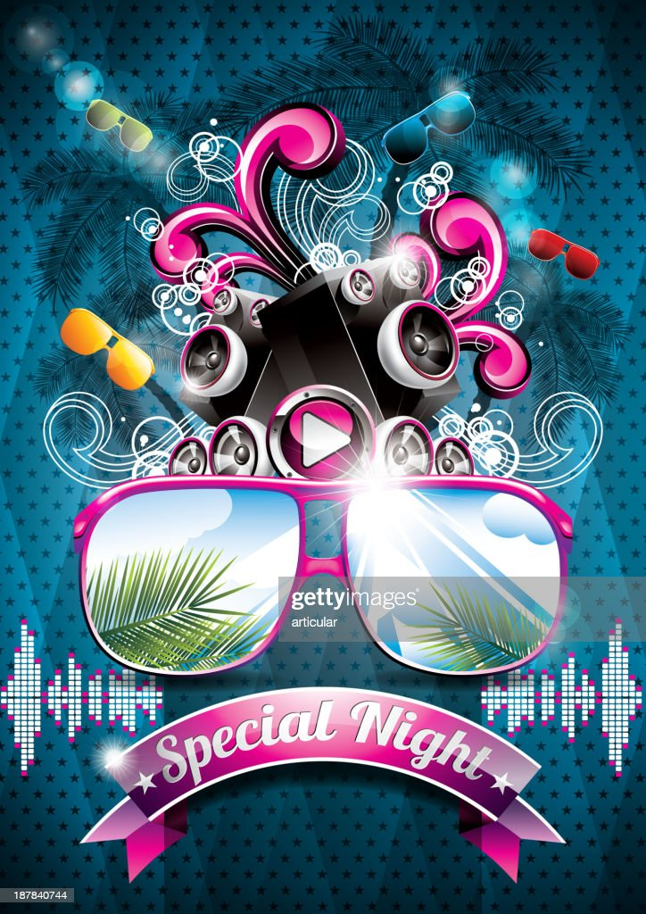 Summer Beach Party Flyer Design with speakers and sunglasses