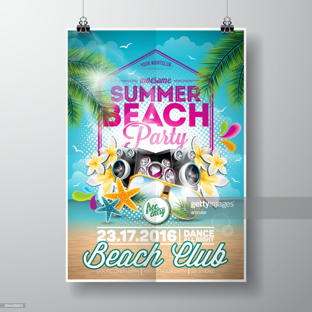 Summer Beach Party Flyer Design with typographic elements