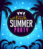 Summer Beach Party in a Circle with Palm Trees
