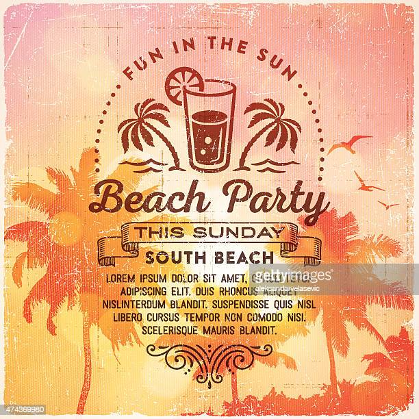 summer beach party invitation background - cocktail stock illustrations