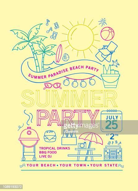 ilustraciones, imágenes clip art, dibujos animados e iconos de stock de plantilla de diseño de verano playa fiesta invitación con los iconos de arte de línea - pelota de playa