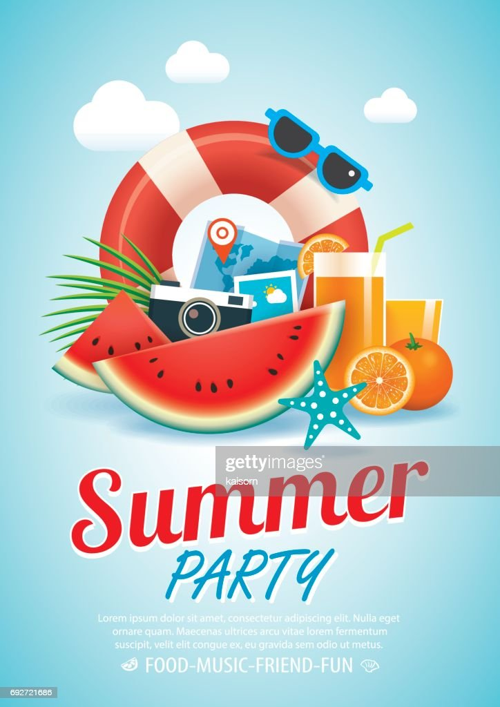 summer beach party invitation poster background and  elements in A4 size.