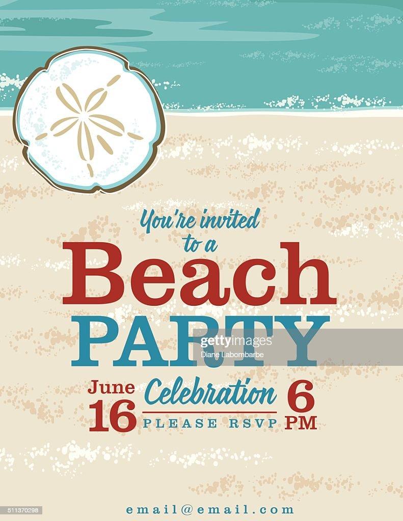 summer beach party invitation with ocean and sand dollar vector art