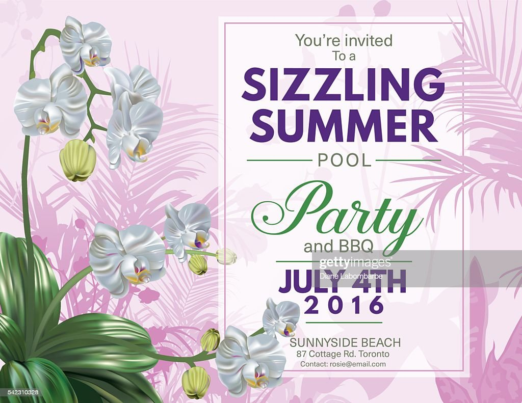 Summer Beach Party Invitation With Orchids And Tropical Plants ...