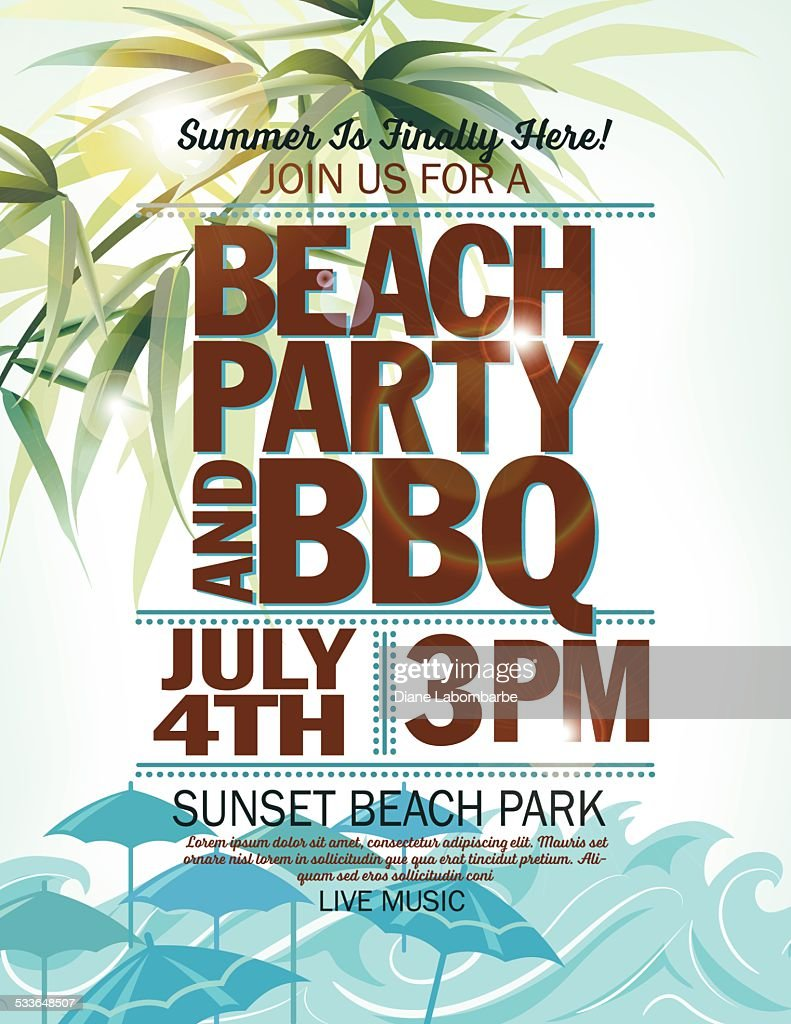 Summer Beach Party Invitation With Palm Leaves Waves