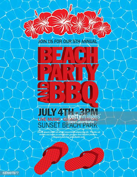 2b1ce7c6eba7 Summer Beach Party Invitation With Water And Flip Flops