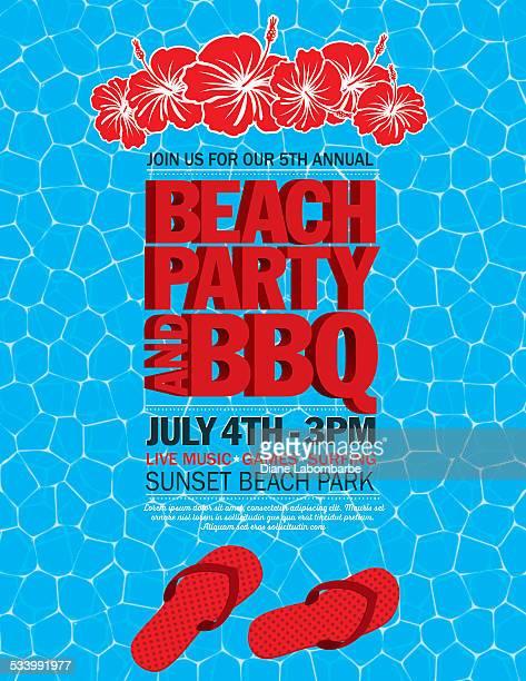 ilustraciones, imágenes clip art, dibujos animados e iconos de stock de de verano playa fiesta invitación con agua y flip flops - pool party