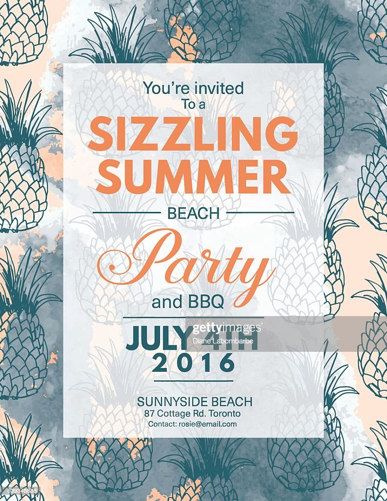 Summer Beach Party Invitation With Watercolor And Pineapples Vector ...