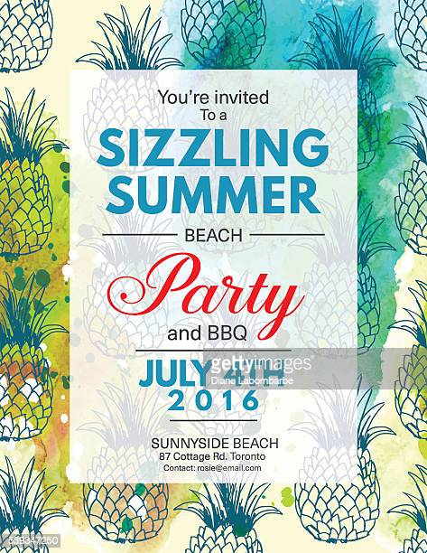 Été Beach Party Invitation avec aquarelle et à l'ananas