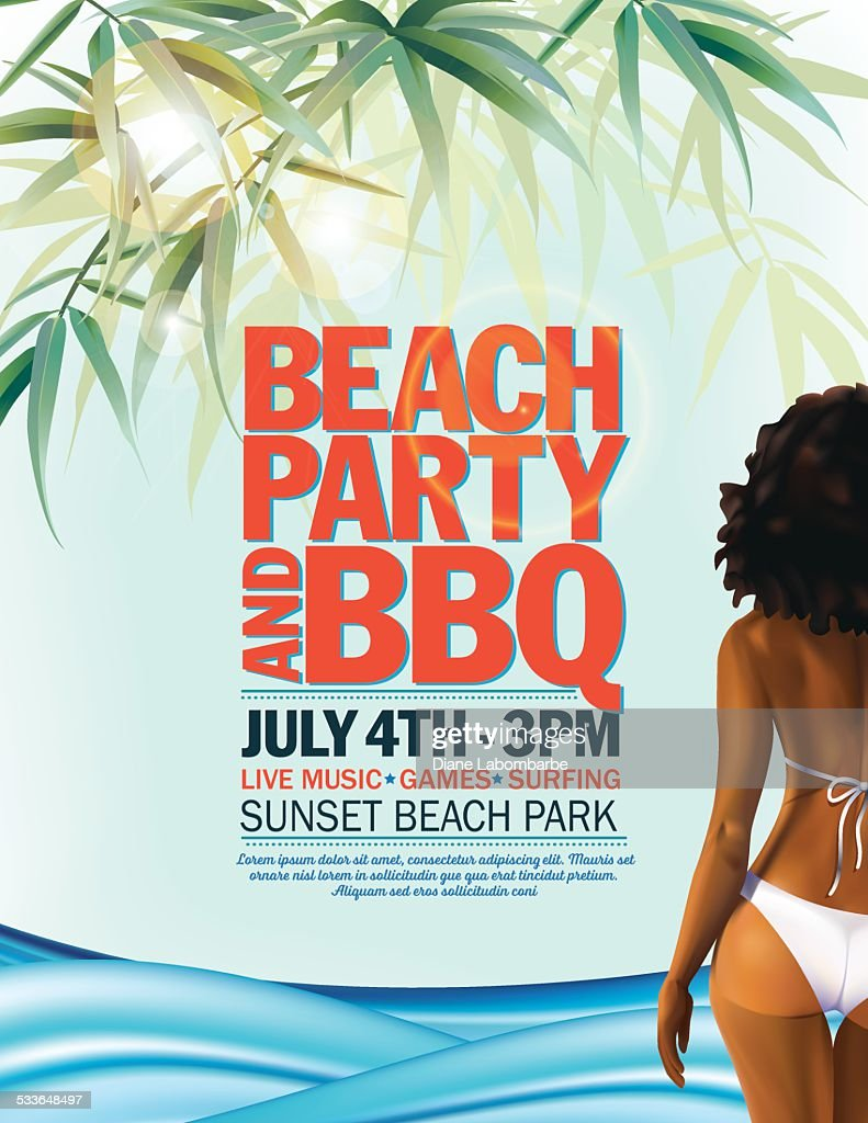 Summer Beach Party Invitation With Woman In Bikini And Waves Vector ...