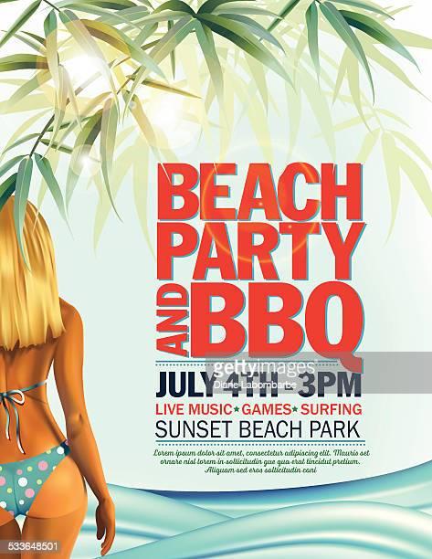 bildbanksillustrationer, clip art samt tecknat material och ikoner med summer beach party invitation with woman in bikini and waves - förförisk kvinna