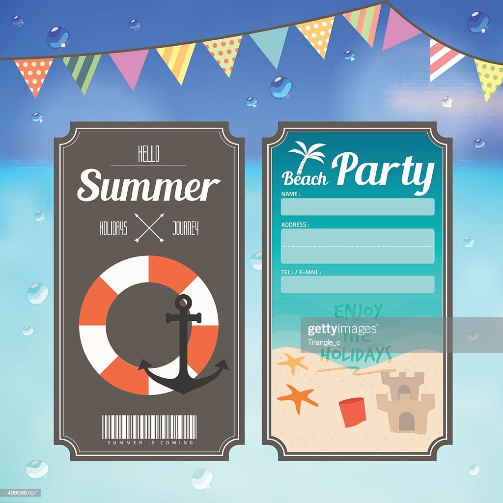 summer beach party ticket on sea background