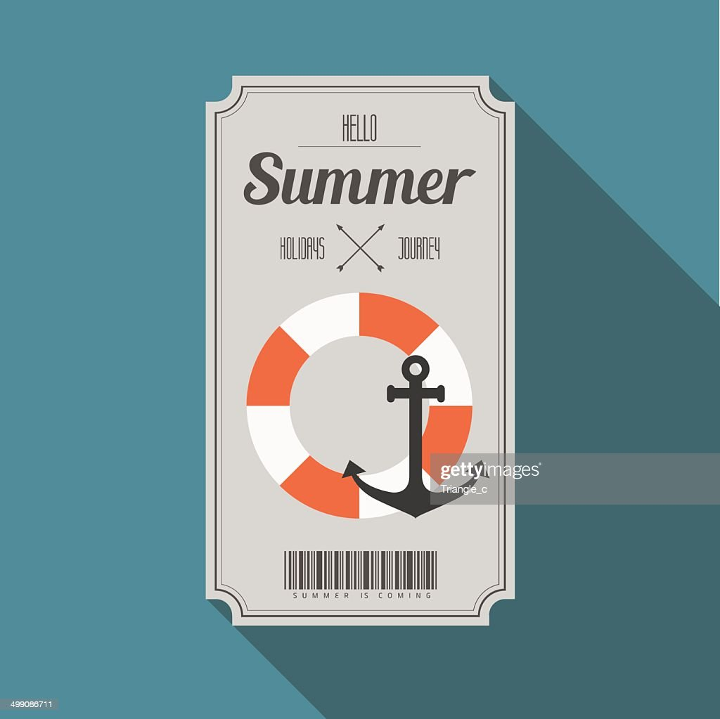 summer beach party ticket with long shadow