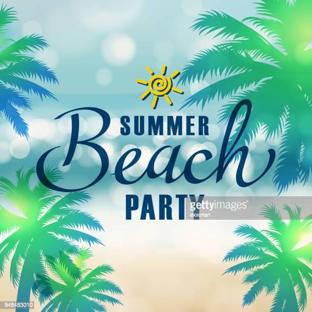 summer beach party - coconut palm tree stock illustrations, clip art, cartoons, & icons