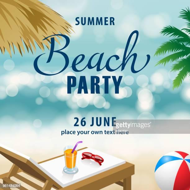 ilustraciones, imágenes clip art, dibujos animados e iconos de stock de fiesta de verano playa - pelota de playa