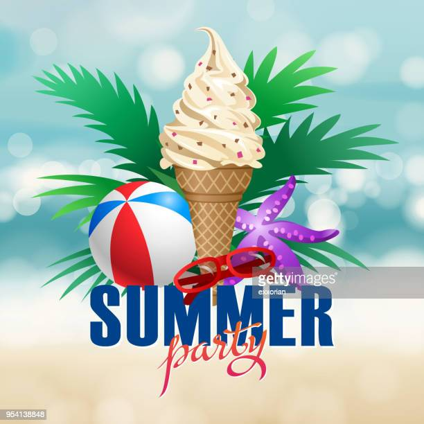 summer beach party - frozen yogurt stock illustrations, clip art, cartoons, & icons