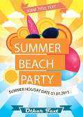 Summer beach party vector poster