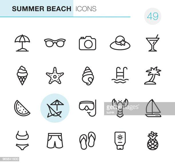summer beach - pixel perfect icons - frozen food stock illustrations
