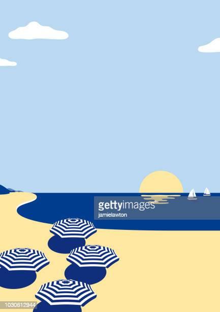ilustraciones, imágenes clip art, dibujos animados e iconos de stock de fondo de escena de playa de verano - puesta de sol