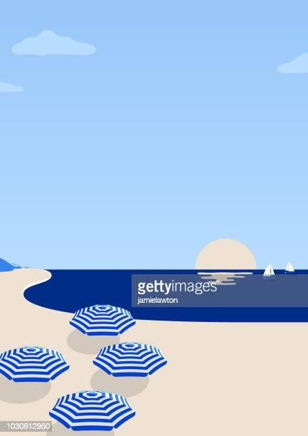 ilustraciones, imágenes clip art, dibujos animados e iconos de stock de fondo de escena de playa de verano - destino concepto