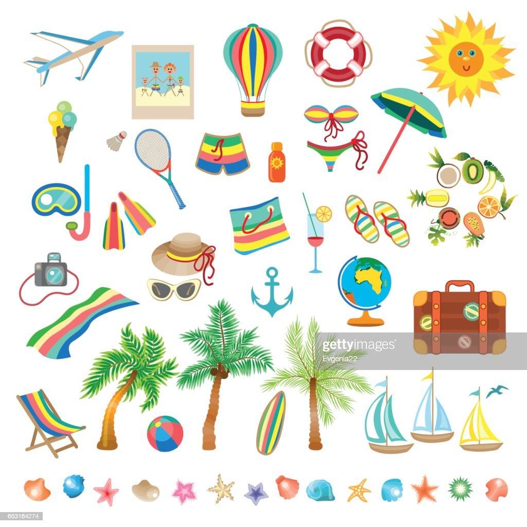 Summer beach, set of icons