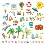 Summer beach, set of icons