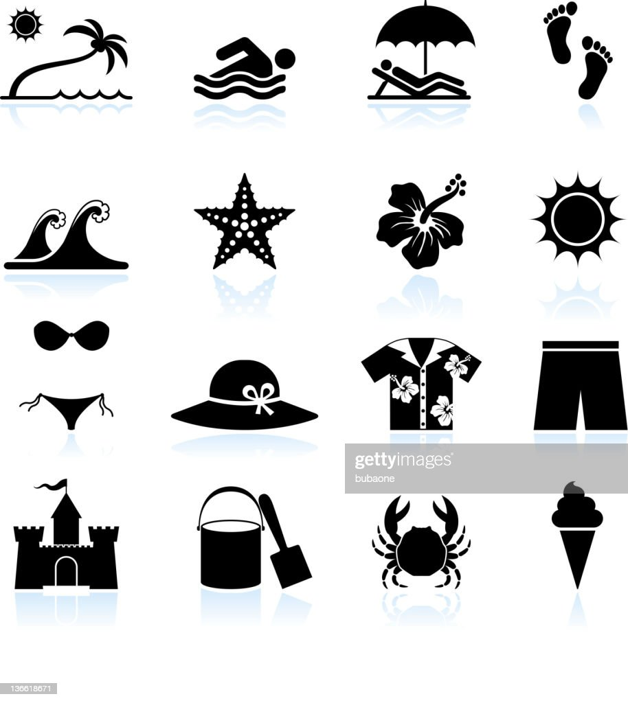 Summer beach time black and white vector icon set