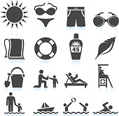 Summer Beach Vacation black & white vector icon set
