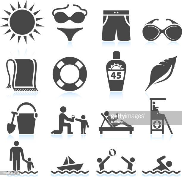 summer beach vacation black & white vector icon set - blanket stock illustrations, clip art, cartoons, & icons