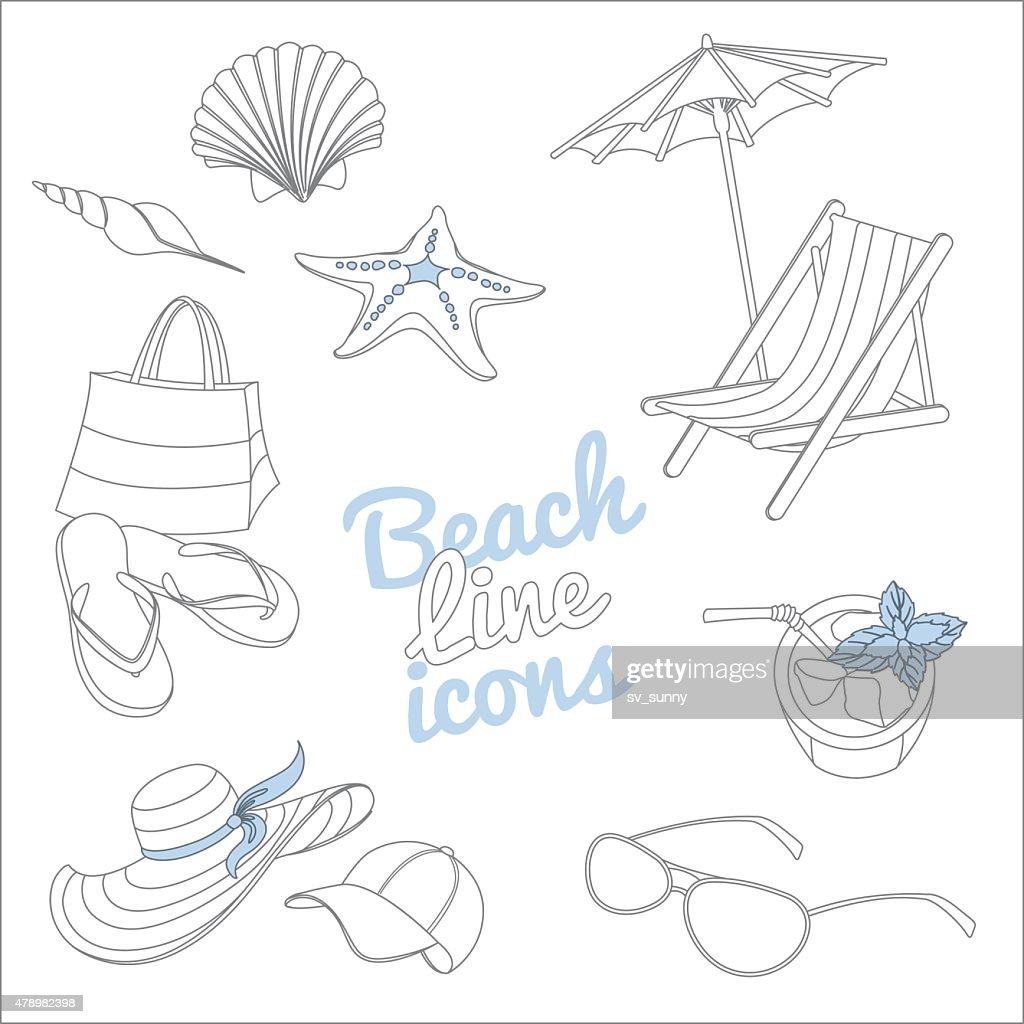 Summer beach vacation icons set. Doodle sketch style.