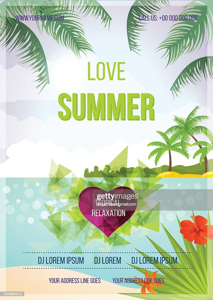 Summer beach vector background.