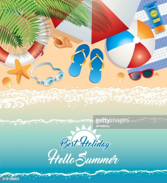 ilustraciones, imágenes clip art, dibujos animados e iconos de stock de de verano beach - pelota de playa