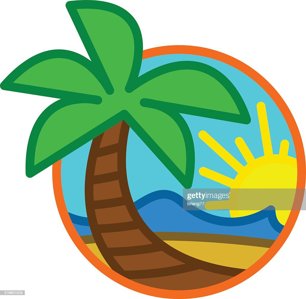 Summer Beach Waves Ocean Palm Tree Tropical Holiday Vacation