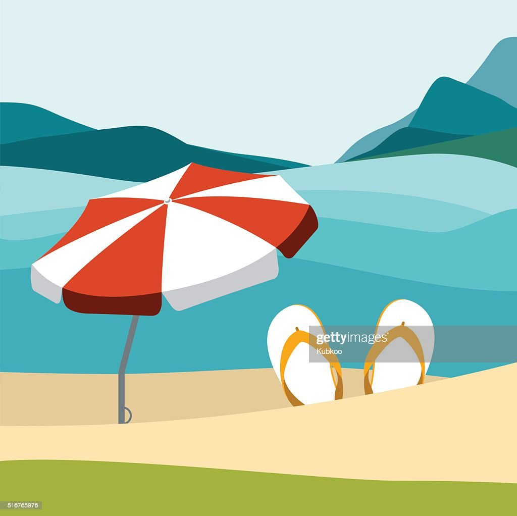 Summer beach with color flip flops and red umbrella.