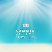Summer beach with sunlight, blue sky, vector illustration