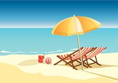 summer beach with umbrella and chairs