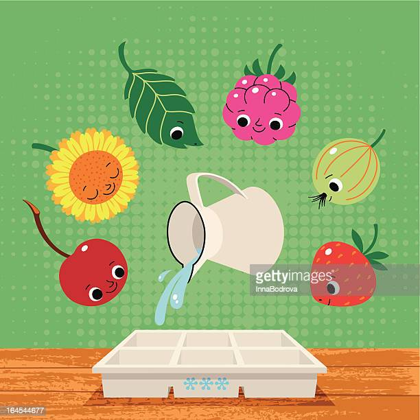 summer berry fruits and plants for freezing. - antioxidant stock illustrations, clip art, cartoons, & icons