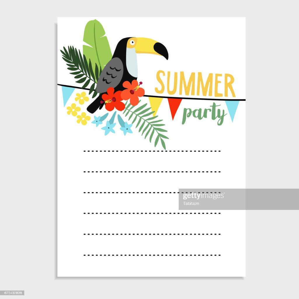 Zomer Verjaardag Partij Wenskaart Uitnodiging Toucan De Vogel Palm