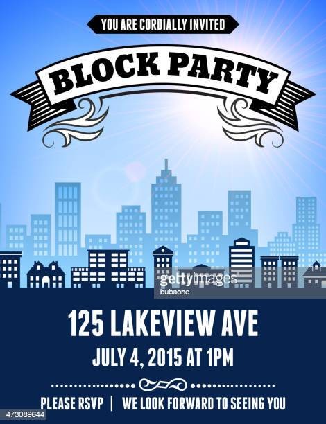 summer block party picnic invitation with city skyline background - borough district type stock illustrations