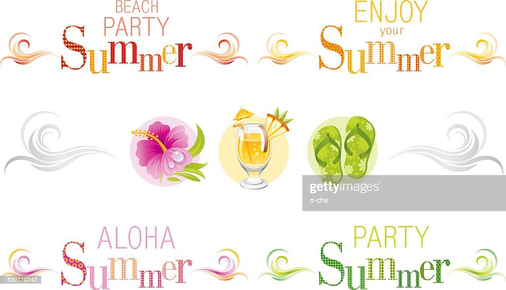 Summer bunners with text and swirls