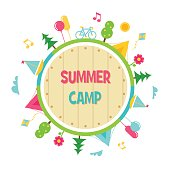 Summer Camp and Outdoor Activities Circle Sign