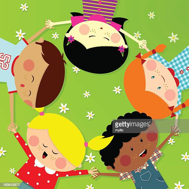 Summer camp Cute Multicultural kids. Happy illustration vector