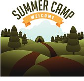 A summer camp flyer with trees and a road