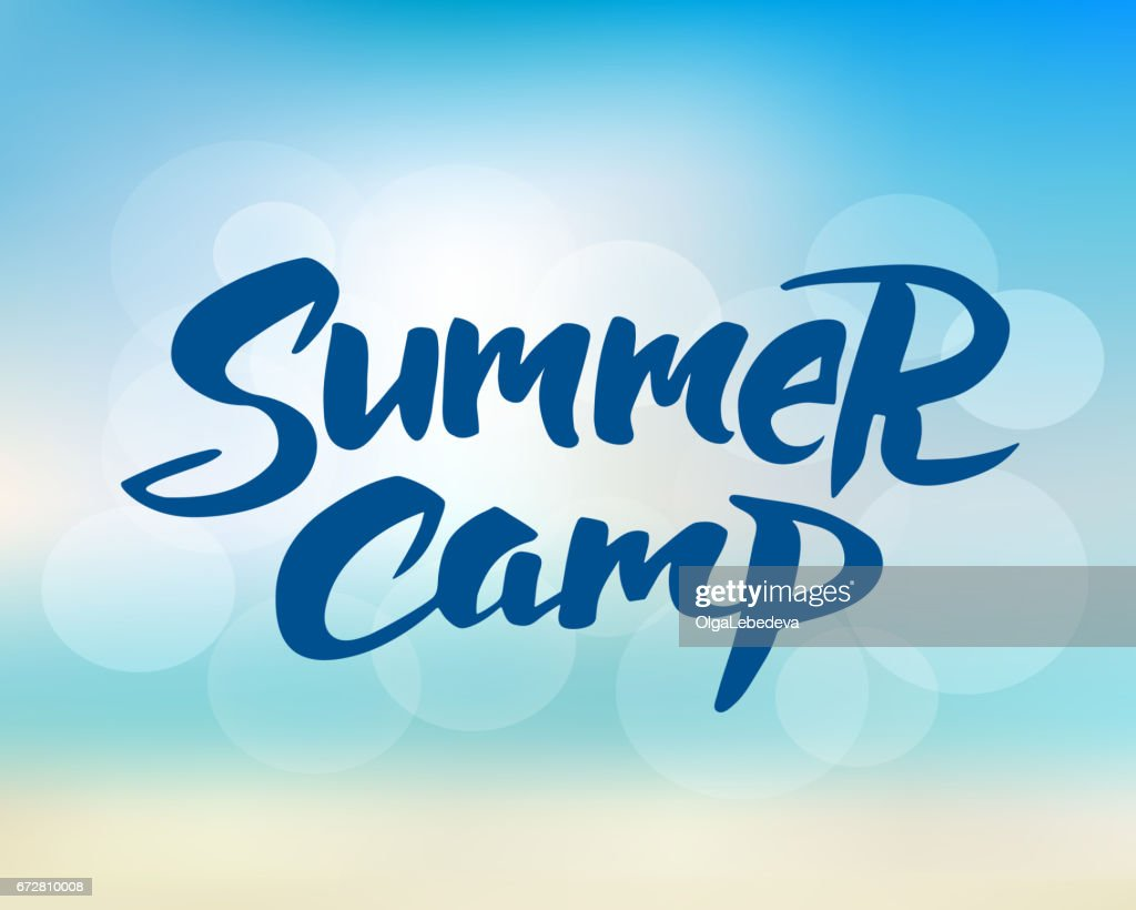 Summer camp hand drawn brush lettering
