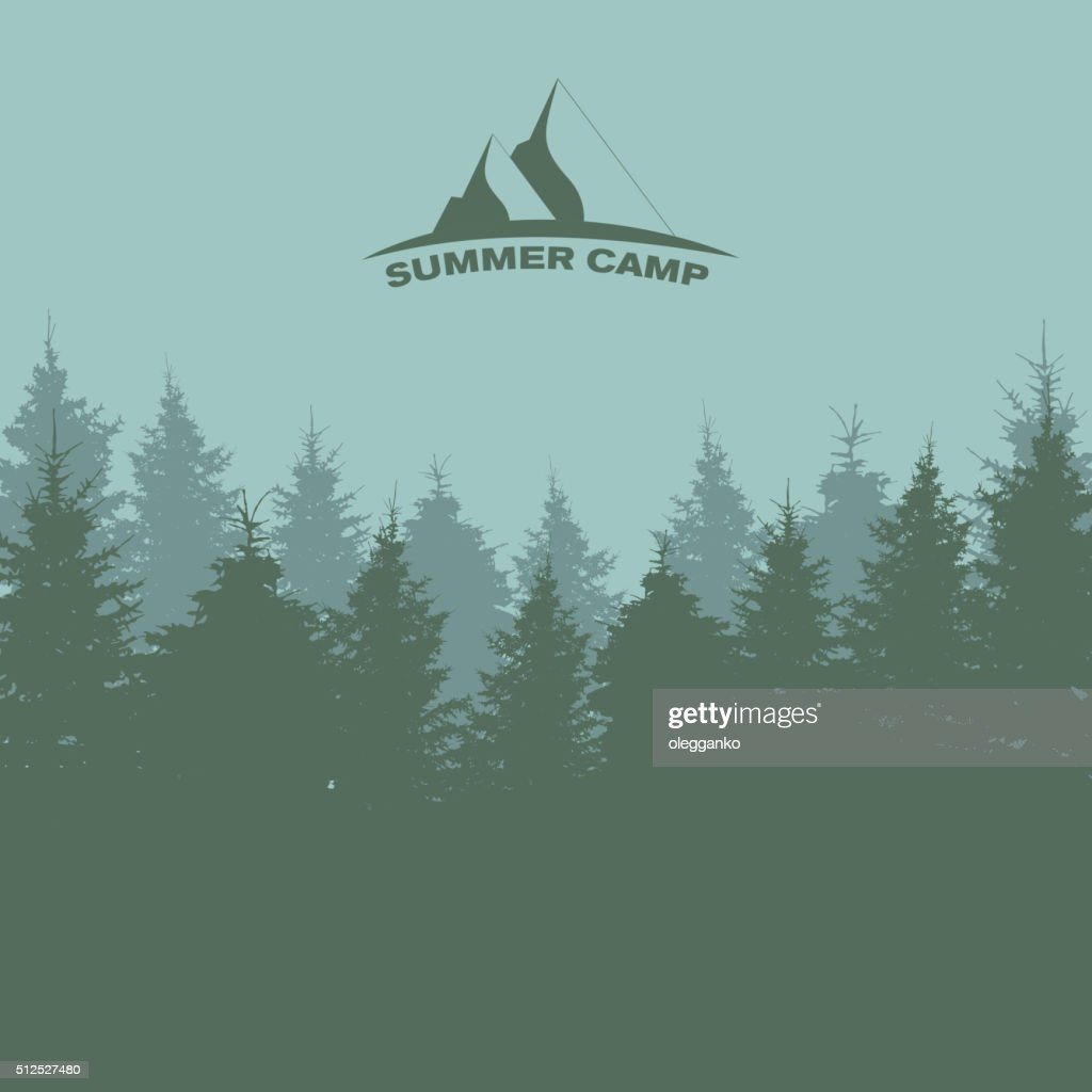 Summer Camp. Image of Nature. Tree Silhouette. Vector Illustrati