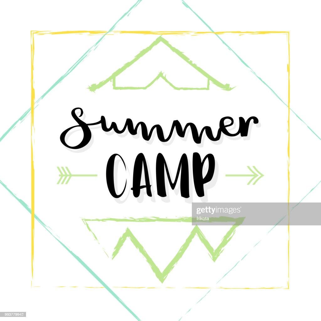 Summer camp lettering. Vector illustration