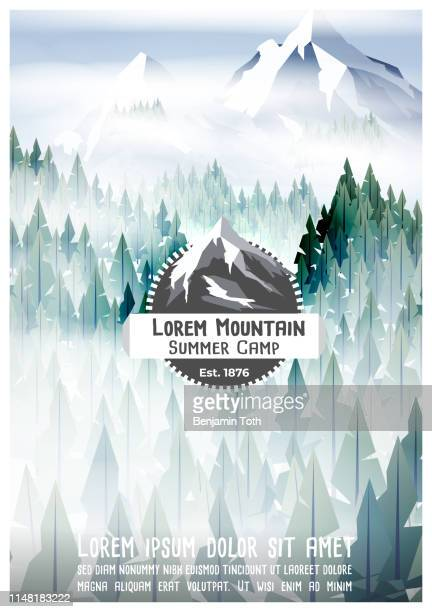 summer camp poster with pine forest and mountain - mountain logo stock illustrations