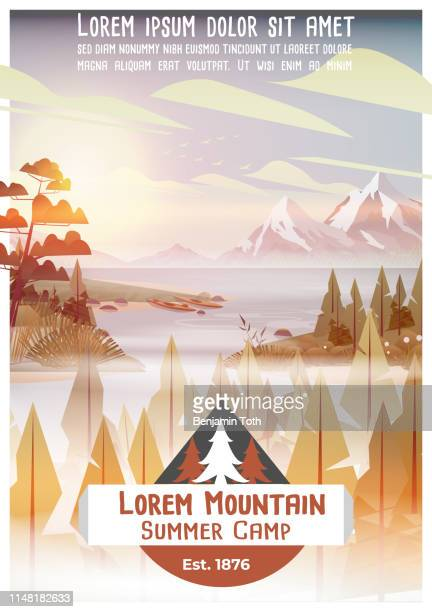 summer camp poster with pine forest, lake and mountains - mountain logo stock illustrations
